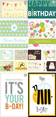 8 Free Printable Happy Birthday Cards. So many cute cards, I can use them all!