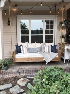 Awesome Farmhouse Porch Swing Decor Ideas What's not to love about a front porch swing? Relaxing, charming, and an invitation to your guests to come sit a spell. Few things add as much curb appeal, and even fewer do it… Continue Reading → Farmhouse Porch Swings, Farmhouse Front Porches, Diy Swing, Outdoor Swing Beds, Diy Porch, Porch Ideas, Summer Porch Decor, Summer Front Porches, Small Front Porches