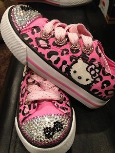 Sanrio Converse Little Girl Hello Kitty Pink Black Sparkle Shoes | eBay