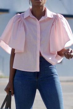 Button down collar backless plain shirts blouse for women blouse for women casual blouse for women work blouse for women chic blouse for women summer. Trendy Summer Outfits, Casual Outfits, Fashion Outfits, Cute Blouses, Blouses For Women, Estilo Street, Blouse Outfit, Work Blouse, Printed Blouse