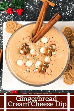 This fast and easy holiday Christmas dessert recipe is ready in 5 minutes. Gingerbread Cream Cheese Dip is gluten free vegetarian and flavored with cinnamon molasses nutmeg and ginger. Dunk gingerbread cookies apples and pears. Easy Holiday Desserts, Easy Christmas Treats, Holiday Pies, Christmas Desserts, Holiday Baking, Christmas Recipes, Holiday Recipes, Merry Christmas, Cheese Dip Recipes