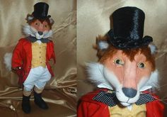 """Fox Hunting"" This jaunty 21"" free-standing fox has a lycra over cloth face colored with oil pastels.  Cloth Doll and Animal Making Sewing Patterns by  Suzette Rugolo"