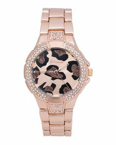 Pink gold leopard print watch. WANT