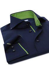 Navy Shirt Green Braid Bulldog Collar