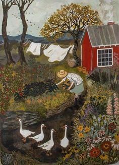 illustration, art, by Lore Pemberton Illustration Noel, Wow Art, Summer Garden, Whimsical Art, Aesthetic Art, Painting & Drawing, Garden Painting, Gouache Painting, Cute Art