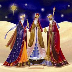 Cards of the three wise men nativity scene depicting three wise men