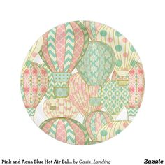Pink and Aqua Blue Hot Air Balloons Pattern Paper Plate - Pretty hot air balloons in pastel shades of pink and aqua blue in this cute party plate. It makes lovely choice for baby showers or birthday parties. Matching baby shower invitation, favor boxes, stickers, and gift bags are available in this motif to create a beautifully coordinated look for your event. Sold at Oasis_Landing on Zazzle.