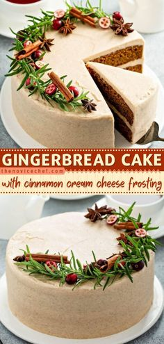 Love gingerbread? Give this Thanksgiving dessert a try! Deliciously moist and full of spices, this layered cake recipe is impressive. A sweet cinnamon cream cheese frosting is the perfect pair for… Best Dessert Recipes, Fun Desserts, Delicious Desserts, Cheesecake Recipes, Yummy Food, Cake With Cream Cheese, Cream Cheese Frosting, Cookie Cake Pie, Cocktail Desserts