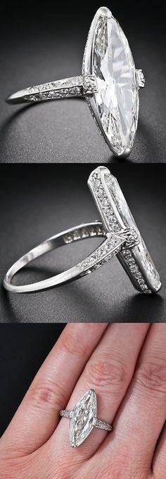Exquisite Art Deco Cartier 3.98 Carat Marquise Diamond Ring, ♥✤ | KeepSmiling | BeStayBeautiful