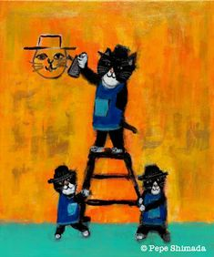 """Pepe Shimada Paitings: """"Black and white Graffiti Cats"""" Acrylic on canvas. Black And White Graffiti, Cat Lady, Cat Paintings, Color Splash, Animals And Pets, Funny Cats, Artsy, Canvas, Pet Art"""