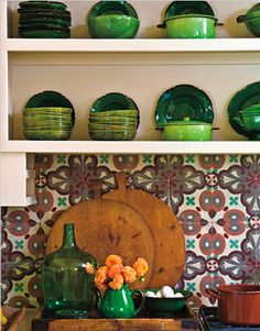talavera with open shelving