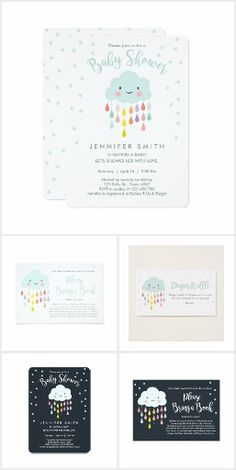 Rain Cloud Baby Shower Invitation Suite: A baby shower invitation suite featuring a happy smiling cloud and colorful raindrops with a polka dot background. Available in white or dark colors #Ad