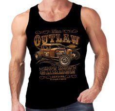 Velocitee Mens Vest The Outlaw Hot Rat Rod Rockabilly 32 Ford 5 Window W15095 #VelociteeSpeedShop