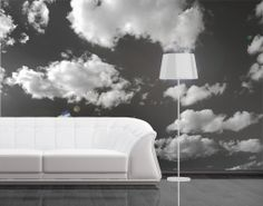 Photo Wall Mural Clouded Sky II Wallpaper Wall art Wall decor Black-and-white