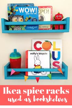 How to use Ikea spice racks as bookshelves - a quick and easy Ikea hack that's perfect for children's rooms. Make sure you read this post!