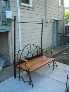 here, from Sabetha. I make decorative benches from old metal bedframes. I make both single and double sizes, most with barn-board type seats, but where I can, I use the nicer original wooden