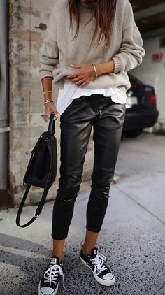 street style. leather trousers. converse. knit top. #streetstyle