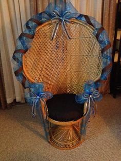 Blue and brown baby shower wicker peacock fan back chair Baby Shower Chair, Boy Shower, Baby Shower Parties, Baby Shower Gifts, Sweet Fifteen, Teddy Bear Baby Shower, Peacock Chair, Brown Babies, Baby Cakes