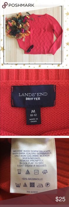 ❤️❤️ Lands End Drifter Red Sweater ❤️❤️ (Bu23J8K) ❤️ Super cute sweater in very good condition. Must have for coming holidays !!!!  Cotton. Round neck. Long sleeve . Offers welcome. No trade Lands' End Sweaters Crew & Scoop Necks