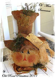 Prim Ol' Man Scarecrow (can sit or hang) Fall Harvest Pattern PDF