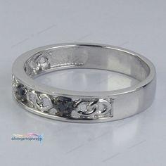 Men's 14k White Gold Finish Round AAA Diamond Three Stone Engagement Band Ring  #Silvergemsjewelry #EngagementBandRing