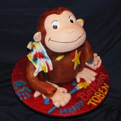 Curious George Birthday Cake. Best birthday cake ideas and birthday cake recipes. Best birthday cakes on Pinterest! #47straight #cakes