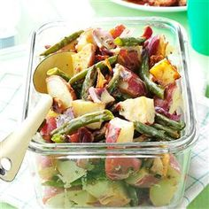 Roasted Potato & Green Bean Salad Recipe -I made this salad to take advantage of in-season fresh potatoes, onions, and green beans. It's a perfect twist on the tangy German potato salad my mom used to make. —Blair Lonergan, Rochelle, VA