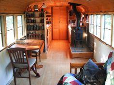 Inside a School Bus Micro Home - http://www.tinyhouseliving.com/school-bus-micro-home/