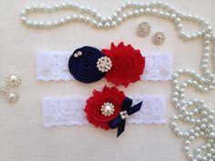wedding garter set, ivory bridal garter set, navy blue rolled rossette and bow, red chiffon flower, pearl/rhinestone on Etsy, $23.90