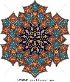 Blue, red, orange and black leaf pattern Arabesque Design View Large Clip Art Graphic