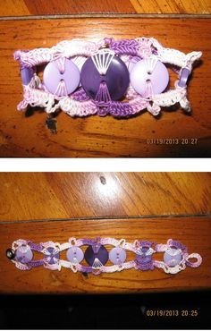 crochet button bracelet in purple and lavender.  Could not open any further than picture but picture is clear enough can maybe make by following picture.