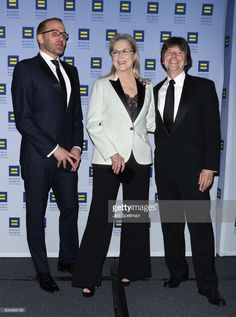 Chad Griffin, atress Meryl Streep and filmmaker Ken Burns attend the 2017 Human Rights Campaign Greater New York Gala at The Waldorf Astoria on February 11, 2017 in New York City.