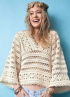 Tina's handicraft : crochet shirt with wide sleeves