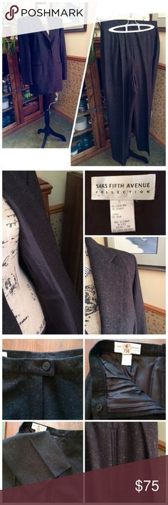 """⏰Sale 👚 Saks Fifth Avenue Ladies Suit 👚 Saks Fifth Avenue Ladies Suit--brown textured fabric. Jacket fits more like an 8 and the trousers fit more like a 6 long. Trouser waist is 30"""" and inseam is 31"""". Trousers and blazer fully lined. Dry cleaned. Please feel free to ask for more photos or information. ⏰$75 after 8-21 Saks Fifth Avenue Jackets & Coats Blazers"""
