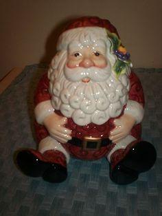 """Fitz Floyd Christmas Chubby Santa Cookie Jar 6"""" Tall"""