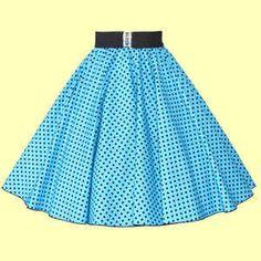 a1cd59b87874cf Turquoise Blue / Black 7mm Polkadot Circle Skirt Ideal Dancewear Outfit