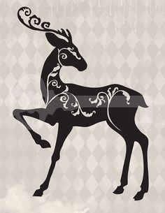 Filigree Reindeer Christmas Silhouette Original Illustration Digital Download…