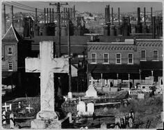 FSA Photography.    Bethlehem graveyard and steel mill. Pennsylvania, Nov. 1935. By Walker Evans