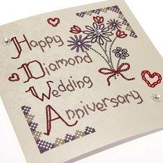 Handmade Homespun Diamond Anniversary Card 60 Years - 'Happy Diamond Wedding Anniversary'.