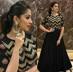 Designer Black Anarkali Gown Product Info : Top : Taffeta Silk with mtr flair Bottom : Santoon Dupatta : Soft Net Fabric Type : Semistitched Work : Heavy Thread Work and Stone work Price : 1700 INR ONLY To buy WhatsApp @ 9054562754 Indian Designer Outfits, Designer Gowns, Indian Outfits, Indian Fashion Trends, Lehenga Designs, Kurti Designs Pakistani, Stylish Dresses, Fashion Dresses, Fashion Clothes