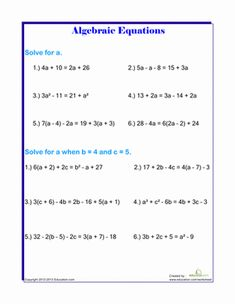 Printables Middle School Algebra Worksheets schools middle school and the ojays on pinterest algebra functions worksheets solving algebraic equations
