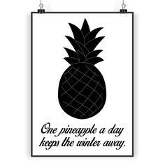 Poster DIN A3 Ananas aus Papier 160 Gramm  weiß - Das Original von Mr. & Mrs. Panda.  Jedes wunderschöne Poster aus dem Hause Mr. & Mrs. Panda ist mit Liebe handgezeichnet und entworfen. Wir liefern es sicher und schnell im Format DIN A3 zu dir nach Hause.    Über unser Motiv Ananas  Die Ananas ist eine ganz besondere und wunderschöne tropische Frucht. Sie ist einzigartig anzusehen und besticht durch ihre außergewöhnliche Form, Farbe und natürlich durch den süß-sauren Geschmack…