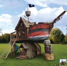 Some kids have all the luck. $27000 Pirate Play Ship from hammacher via Wanelo. #household #arrmatey