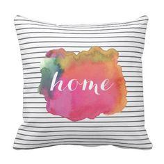 Custom watercolor word art pillow