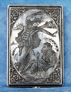 Persian Silver Cigarette Case - Miniature Hand Chased Motives - Isfahan