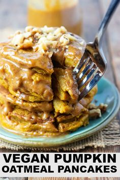 These vegan pumpkin oatmeal pancakes are so amazing. They are so easy to prepare with pumpkin puree and sweetened with maple syrup, perfectly spice just add all the ingredients in a blender and process until smooth and creamy. #pancakes #oatmealpancakes #easyrecipe #vegan #glutenfree