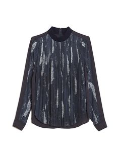 O'2nd | Blue Deauville Blouse | Lyst | Long sleeve top featuring ribbed mock neckline, accordion pleated bodice, semi-sheer sleeves and rounded, split shirttail hem; lined. | I could do something like this with my flowered silk chiffon fabric ...