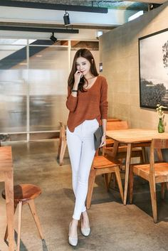 Shop for Cotton Stretch Skinny Pant at Korean Fashion Store. Find more trendy Korean clothing hot this season in South Korea right at our store. Korean Fashion Summer, Korean Fashion Casual, Korean Fashion Trends, Ulzzang Fashion, Korean Street Fashion, Korea Fashion, Korean Outfits, Japanese Fashion, Asian Fashion