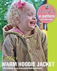 Unisex warm hoodie jacket PDF patterns 12 months by dmkeasywear, $6.00