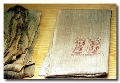 Linen with cartouche of Rameses II in red ink.